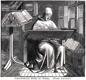 Een monnik aan het werk in één van de Vlaamse bibliotheken. Als het van de Vlaamse Regering afhangt, zal deze bijgestaan worden door gewone mensen.