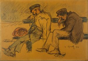Twee mannen die net hun bibliotheekboetes betaald hebben (onbekende schilder).